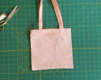 Pink Parade Print Fat Quarter Tote Bag, Fabric Gift Bag, Small Cotton Tote