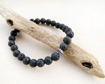 Men's Bracelet, Lava Stone, Stainless Steel, Silver, Black, Mala, Yoga, Zen, Stretch, Handmade, Jewelry for Man, Gift for Him, Gift for Man