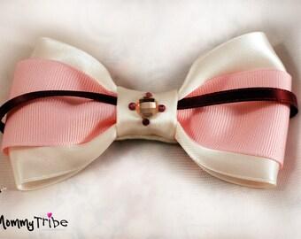 MommyTribe Boys Bow Tie: Ivory Bow Tie with Swarovski Crystals, Pink Bow Tie, Wedding Bow Tie