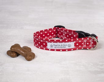 Red dog collar - Dog collar - Girl dog collar - Boy dog collar - Puppy collar - Spotty dog collar - Polka dot dog collar - Puppy gift