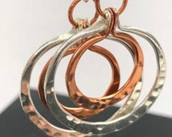 A Double Take ~ French Hook Earrings with Copper & Sterling Silver Fun Double Hoops
