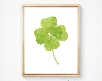 Leaf print, green print, leaves art, clover print, watercolour print, leaves decoration, wall print, leaf art, botanical print, leaf prints