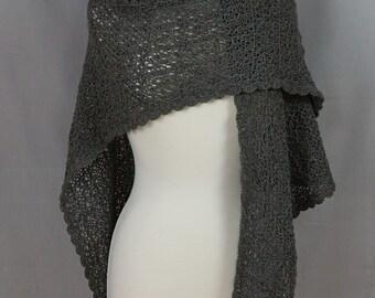 Hand knit Lace shawl Triangular Dark Silver Grey Alpaca Very soft OOAK Crocheted lace edge
