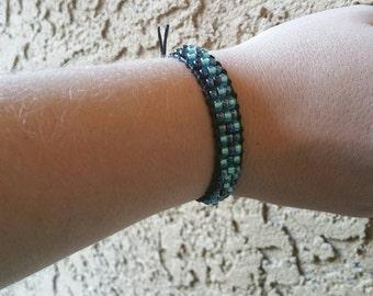 0095-Three shades of blue ladder bracelet