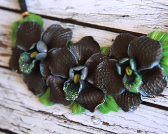 Floral jewelry Necklace orchids Polymer clay jewelry Statement necklace Black orchids Unique jewelry  Unique gift Black flowers handmade