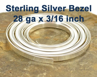 "28ga x 3/16"" Plain Bezel -  Sterling Silver - Choose Your Length"