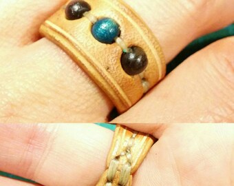 Leather & wood ring