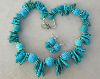 """SHOWSTOPPER - Natural Turquoise & Poly """"Jatim"""" Evil Eye Beads Made in Nepal, Necklace Set by SandraDesigns"""