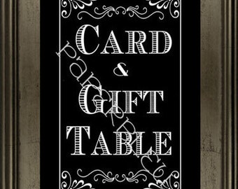 """Weddings """"Gift & Card """" Table Sign - DIY Instant Printable Download - Black and White -one 8x10 black print"""