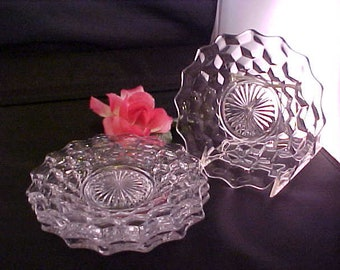"""Vintage Fostoria American Bread and Butter 6"""" Plates w/Raised Ground Bottom, Elegant Set of 4 Clear Glassware Small Plates w/Cube Pattern"""