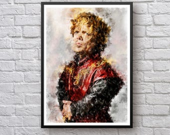 Game of Thrones Poster, Tyrion Lannister Poster, House Lannister Westeros Print, Hear Me Roar, TV Show Watercolor Poster Art Print, Man Cave