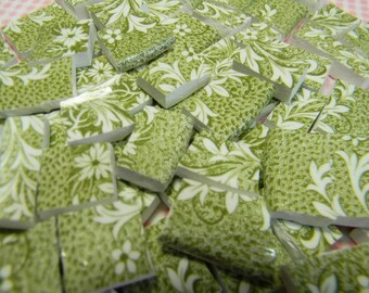 Mosaic Tiles - ANTiQuE MoSSY GReEN EnGLiSH - Broken China Tiles