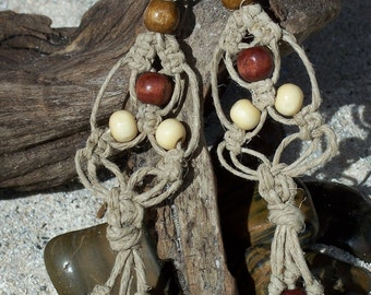 Wood Beaded Hemp Earrings