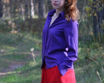 Women's Purple Blouse Button Up V Neck Romantic Shirt Long Sleeves Small to Medium