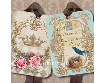 Shabby Mix - Set of FOUR Tags - Raspberry Hall