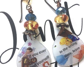 Inspiration earrings, wrong story leave, kitty cat, liberate, up and leave, songbird