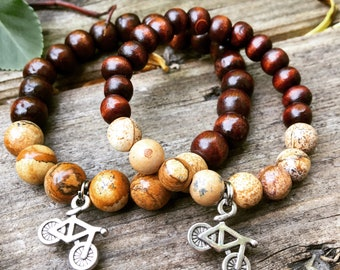 Father son daughter child partner matching bracelets wood and natural jasper with bicycle charm