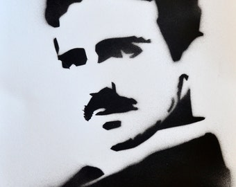 Nikola Tesla Spray Paint Portrait