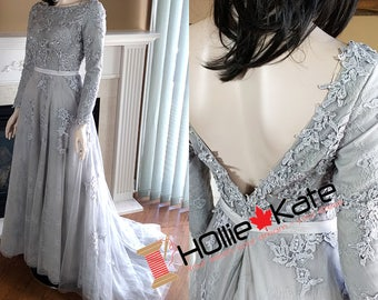 Grey wedding gown, lace wedding dress long sleeves