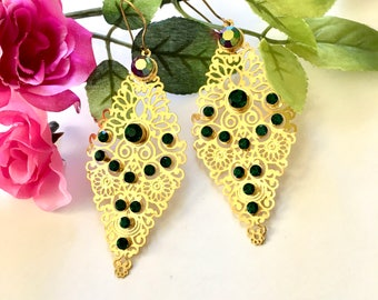 Long Gold Chandelier Earrings - with Emerald green Swarovski crystals,