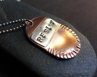 RESIST Dog Tag Necklace, Copper Sterling Mixed Metal Silver Resist Unisex Pendant, Political Jewelry 2018, Call to Action Pendant