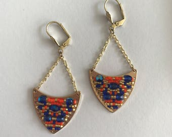 CLEO - Orange and blue earrings