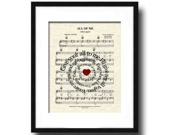All Of Me Song Lyric Sheet Music Art Print, First Dance Art, Names and Date, Custom Wedding & Anniversary