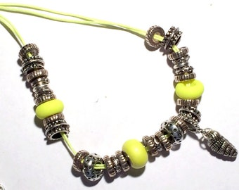 Shell Charm Necklace, Yellow Swarovski BeCharmed Pearl, Neon Yellow Necklace, Swarovski Yellow Neon Necklace