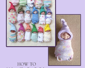 How To Make a Clay Baby, E-Book, PDF Art Tutorial, Polymer Clay, Sample Pages,Instant Download, 52 Photos, Instructions, Elf Hat