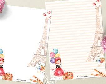 Welcome to Paris - DOWNLOAD file - Printable Writing paper - A5 size