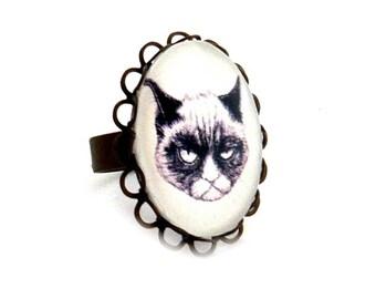 Ring adjustable grumphy cat grumpy cat
