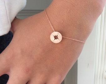 Graduation Gift, Rose Gold Bracelet, Rose Gold Compass Bracelet Bridesmaids Gift, rose gold wedding bridesmaid gift, wanderlust best friend