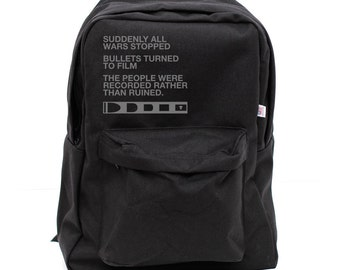 Backpack: Film v. Bullet, Rucksack, School Backpack,Typography, Nylon, Hipster Backpack, Black Backpack, Men Backpack, Women Backpack