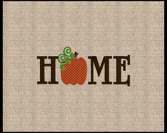Word Home with Pumpkin O Fall Machine Embroidery Design Embroidery Design 12 sizes 4x4 up to 8x10
