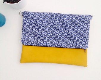 Yellow faux leather flap bag