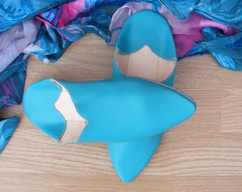 Slipper blue leather shoes or slippers size 36 to 40 for wedding / party / ceremony Moroccan