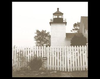 Maine Lighthouse-Nautical Wall Art-Fort Point Lighthouse-Fine Art Square Print-30x30-Coastal Art-Vintage Style Wall Art-Sepa Photograph