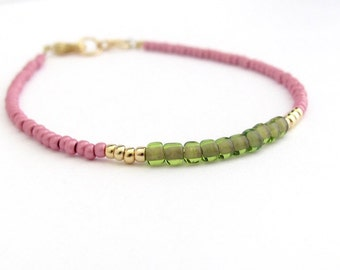 Rose Green Beaded Bracelet, Spring Summer Seed Bead Minimal, Dainty Hawaiian Jewelry