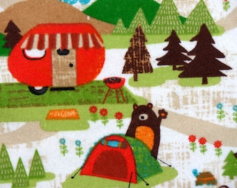 Camping Receiving Blanket - Bear Swaddle Blanket - Flannel Baby Blanket - Baby Photo Prop - Baby Girl Receiving Blanket - Baby Bedding