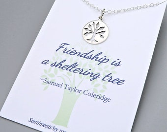 Silver Tree Necklace - friendship jewelry - best friends - sterling silver - message card - gift for friend