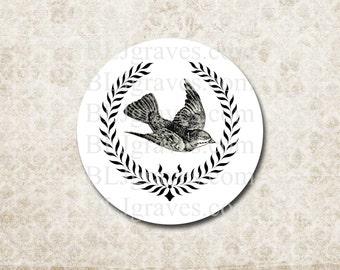 Stickers Black Bird Wreath Wedding Party Favor Treat Bag Sticker Envelope Seals SP077