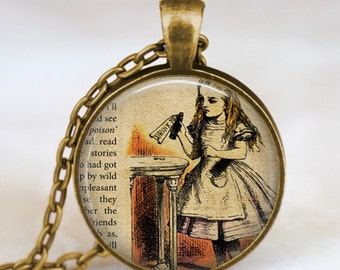 Alice In Wonderland Necklace, glass dome art Necklace, Drink me Necklace, Wonderland, Once Upon a Time Jewelry
