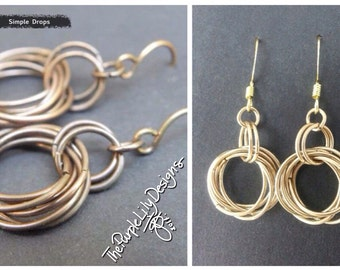 Simple Drops, Copper or Brass, by ThePurpleLilyDesigns