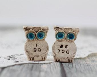 Wedding cake topper Owls Love birds  I do Me too