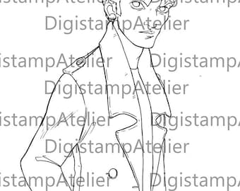Edward Cullen Comic. INSTANT DOWNLOAD Digital Digi Stamps.