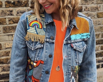 MAMA Womens Denim Jacket Made to Order Upcycled African Print Size S 8-10 UK (4-6 US)