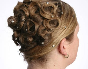 10 Crystal Pearl Hair Snaps - Round Silver Rim Edition -- Made with Swarovski Crystal Pearl Element Rhinestones