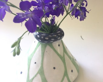 Ceramic bud vases yellows greens stripes