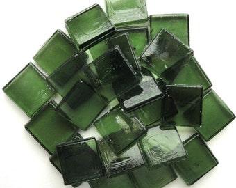 "15mm (3/5"") Hunter Khaki Dark Green Transparent Glass MosaicTiles //Mosaic Supplies//Mosaic"