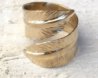 9ct gold ring, gold statement ring, unique one of a kind wedding ring, gold feather ring, wrap around thumb ring, gold angel feather ring